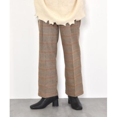 (w closet/ダブルクローゼット)ハイウエストチェックパンツ/レディース ブラウン