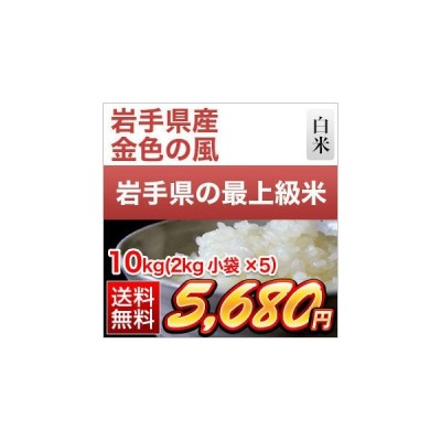 白米 10kg 岩手県産 金色の風 10kg(2kg×5袋)令和2年(2020年) 米袋は真空包装