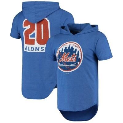 マジェスティックスレッズ Tシャツ トップス メンズ Pete Alonso New York Mets Majestic Threads Softhand Player Hoodie TShirt Royal
