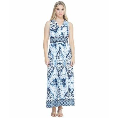 ロンドンタイムス ワンピース トップス レディース Printed Maxi Dress White/Blue