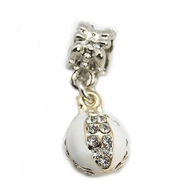Sexy Sparkles Lady Bug Design w/White Enamel and Rhinestones Charm Bead for