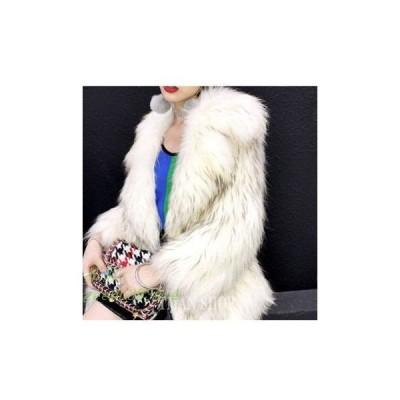 ファーコート レディース 毛皮コート 折り襟 ラクーン クファー ふわふわ 細身 ミディアム丈 暖かい 秋服 防寒 上着 冬服 新作 おしゃれ