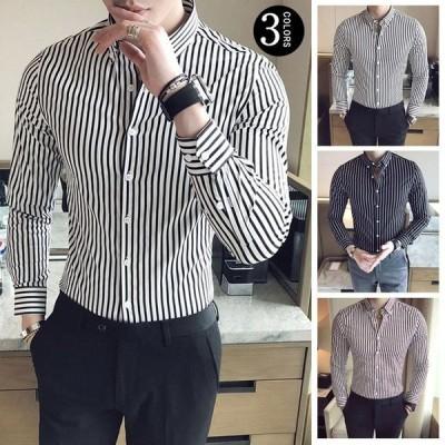 カジュアルシャツ メンズ シャツ 春 新作 長袖シャツ 通勤 ワイシャツ ボタンダウンシャツ ネルシャツ ストライプ トップス