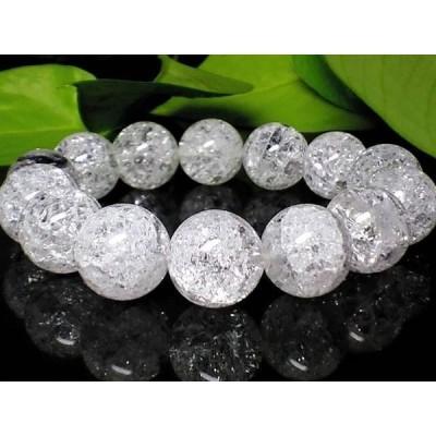 人気天然石クラック爆裂水晶AAA14ミリ人気数珠