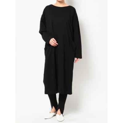 【コトリカ】 DOUBLE COLLAR LONG SLEEVE T DRESS レディース ブラック M COTORICA.