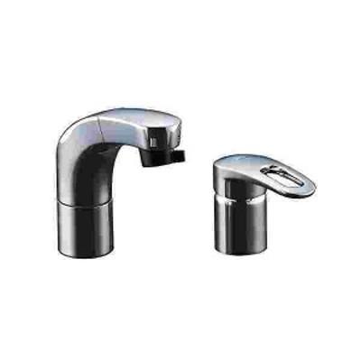 LIXIL(リクシル) INAX 洗面器・手洗器 台付 ホース引出式シングルレバー混合水栓 エコハンドル フルメッキタイプ 小型吐水切替機能 RLF-6