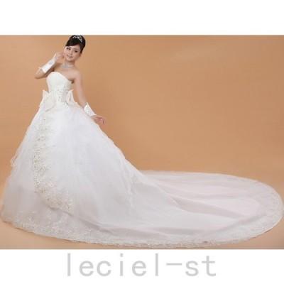 刺繍シンプルウェディングドレス 豪華なトレーンウェディングドレス☆格安【結婚式】【二次会】【パーティー】【披露宴】 ビスチェドレス
