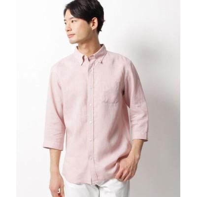 THE SHOP TK/ザ ショップ ティーケー ベルギーリネン七分袖シャツ ピンク(072) 04(LL)
