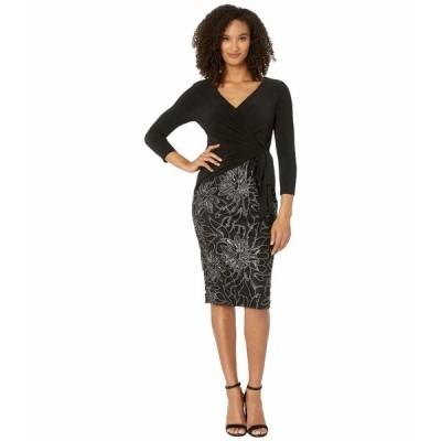 アドリアナ パペル ワンピース トップス レディース Jersey Wrap Embroidered Sheath Dress Black