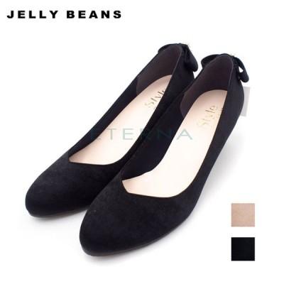 JELLY BEANS ジェリービーンズ レディース パンプス バックリボン ビジュー ふかふか パーティー 結婚式 日本製 黒 オーク 5302