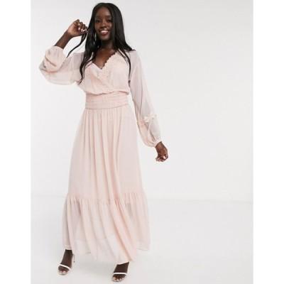 エイソス レディース ワンピース トップス ASOS DESIGN lace insert shirred waist maxi dress in dusky pink