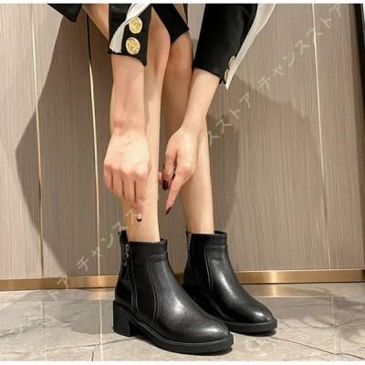 レディース ブーツ ブーティ 太ヒール ショートブーツ 歩きやすい 美脚 スエード アンクルブーツ バックジッパー 秋冬靴 痛くない 歩きやすい ブーツ 入園式