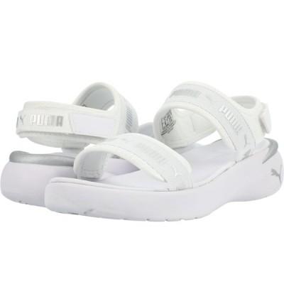 プーマ サンダル シューズ レディース Sportie Sandal Puma White/Metallic Silver