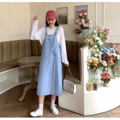 【取り寄せ】レディース ジャンパースカート サロペットスカート デニム オールインワン ミモレ丈 可愛い おしゃれ デイリー カジュアル
