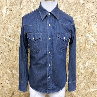 EDWIN エドウィン S メンズ デニムシャツ ウエスタン ドットボタン 両胸フラップポケット 無地 レギュラーカラー 長袖 綿100% ブルー 青