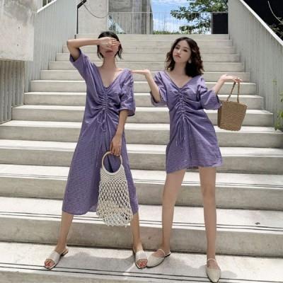 春夏 ドレス ワンピース ミニドレス ミモレ丈 袖あり 五分袖 ゆったり カジュアル Vネック