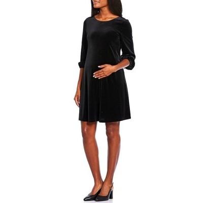 アレックスマリー レディース ワンピース トップス Maternity Shay Velvet Poet Sleeve A-Line Dress