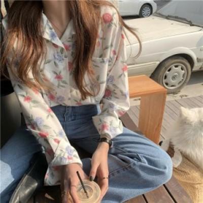 トップス シャツ 総柄 花柄 ボタニカル レトロ カジュアル 韓国ファッション 大人可愛い