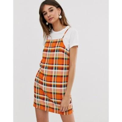 モンキ レディース ワンピース トップス Monki check print mini cami dress in orange