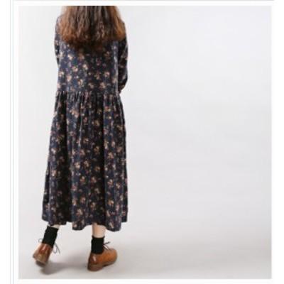 韓国 ファッション レディース 大きいサイズ 花柄ワンピース レディース ゆったり ロング ミモレ丈 体型カバー ガーリー カジュアル ゆる