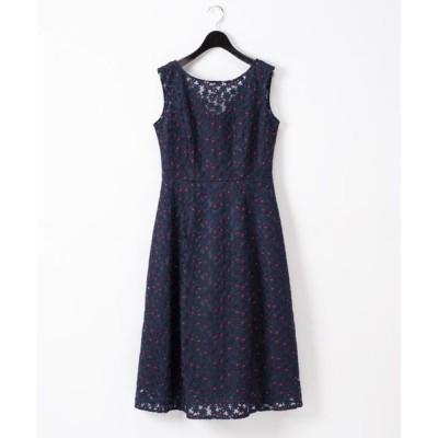 ドレス フラワー配色刺繍ドレス