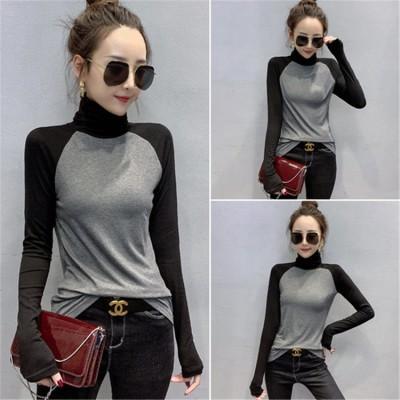 [55555SHOP]大特価★どこよりもお得 ★高品質 100%  タートルネック 日系ファッション 肌に優しい綿生地 通気性 長袖  Tシャツ