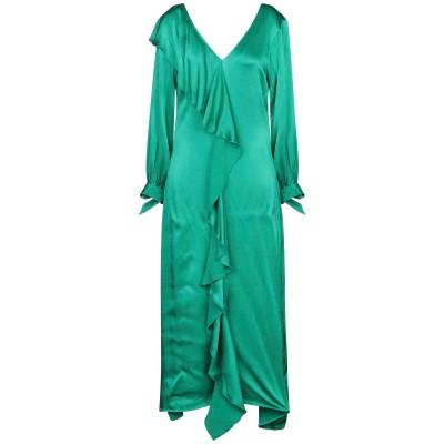 WEILI ZHENG ロングワンピース&ドレス グリーン S レーヨン 100% ロングワンピース&ドレス