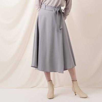 クチュール ブローチ Couture brooch カルゼラップ風イレギュラーヘムフレアスカート (ロイヤルパープル)