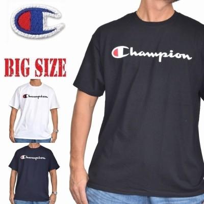 大きいサイズメンズ チャンピオン Champion 半袖Tシャツ SCRIPT SS TEE ロゴ アメカジ USAモデル XL XXL [M便 1/1]