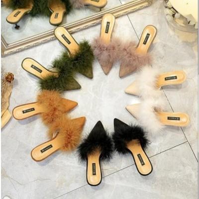 パンプス レディース 靴 シューズ ファー付き ふわふわ ミュール ピンヒール フラット サンダル レディースシューズ婦人靴 春秋物 新作