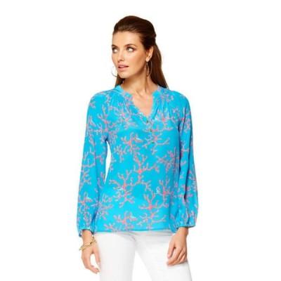 トップス リリーピュリッツァー Lilly Pulitzer ELSA Silk Top Turquoise Coral Me Crazy Blue Pink XS RARE