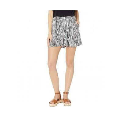 Three Dots スリードッツ レディース 女性用 ファッション ショートパンツ 短パン Mini Zebra Printed Crepe Shorts - White/Black