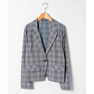 【ラピーヌ ブルー】【大きいサイズ】【洗える】コットンリネン グレンチェックジャケット