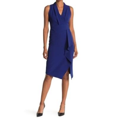 テイラー レディース ワンピース トップス Crepe Stretch Asymmetrical Dress INDIGO