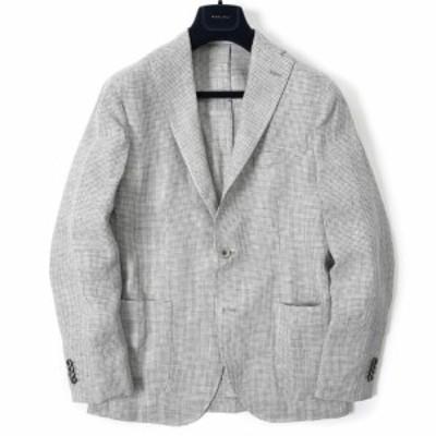 BOGLIOLI ボリオリ K.JACKET テーラード ジャケット 段返り3Bシングル 春夏 メンズ リネン 100% ハウンドトゥース チェック グレー