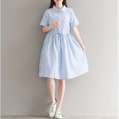 リボン ショートワンピース 女性 半袖 体型カバー ワンピ 服 オシャレ 韓国風 お出かけ 大きいサイズ 可愛い ゆったり 旅行 通勤 OL オフ
