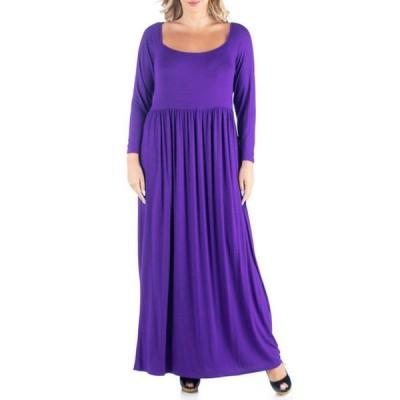 24セブンコンフォート レディース ワンピース トップス Plus Size Empire Waist Long Sleeve Maxi Dress