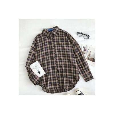 【送料無料】レトロ 風 格子ボーダーのシャツ 女 秋 新品 韓国 ルース 襟 シングル列ボタン 長 | 346770_A63549-5159738