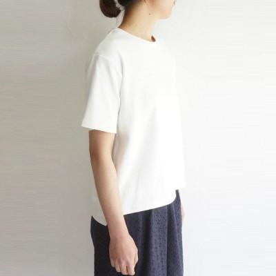 コットン 綿 ミラノ 編み 半袖 ワイド Tシャツ カットソー LE VENT SOUFFLE ルヴァンスフル LVS4114 服 大人の ナチュラル服 ゆったり きれいめ シンプル