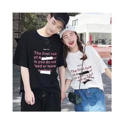 レディース トップス Tシャツ カットソー メッセージロゴ 韓国 半袖 シンプル ホワイト ブラック ペイント ユニセックス