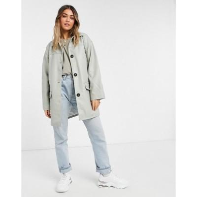 エイソス ASOS DESIGN レディース ジャケット シャツジャケット アウター Asos Design Oversized Faux Leather Quilt Lined Shacket In Grey グレー