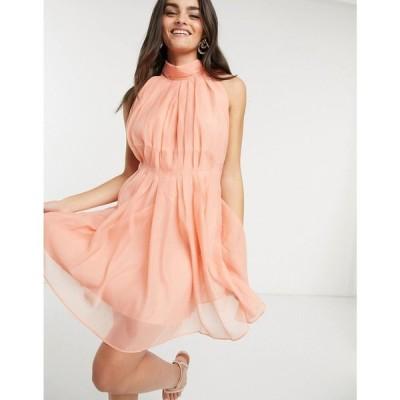 ワイ エー エス Y.A.S レディース ワンピース ミニ丈 ワンピース・ドレス high neck mini dress with tie bow back in peach ピーチ