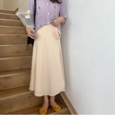 【取り寄せ】レディース ボトムス ラップスカート ロング丈 可愛い フェミニン おしゃれ 春夏 ブラック ベージュ ピンク ブルー