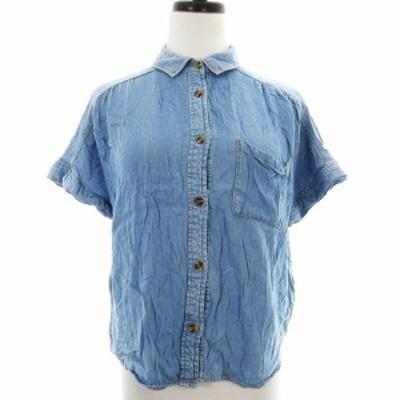 【中古】ナイスクラップ NICE CLAUP シャツ カットソー 半袖 ステンカラー 薄手 デニム調 青 トップス レディース