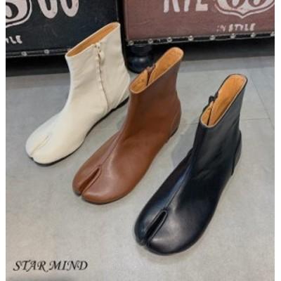【送料無料】ファスナー ブーツ ショート シューズ 靴 韓国 タビ ブーツ 靴 ローヒール 足袋 たび アンクル丈 ショート