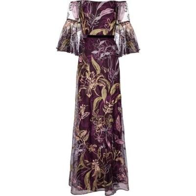 ノッテ バイ マルケッサ Marchesa Notte レディース パーティードレス ワンピース・ドレス Embroidered tulle off-shoulder gown Burgundy