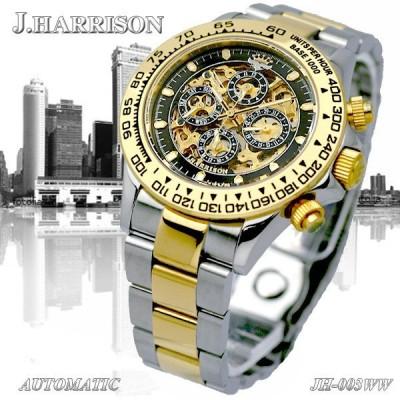 (ジョンハリソン) J.HARRISON  スケルトン自動巻き メンズ腕時計 JH-003GB