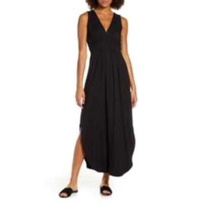 フライシュ ワンピース トップス レディース V-Neck Jersey Maxi Dress Black