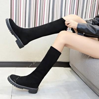 ロングブーツ ブーツ レディース スエード 大きいサイズ シンプル 細見え ストレッチ 長靴 ジョッキーブーツ ロング 歩きやすい 黒 厚底ブーツ 婦人靴