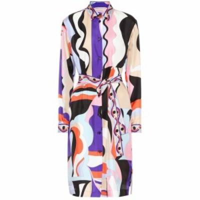 エミリオ プッチ Emilio Pucci レディース ワンピース ワンピース・ドレス Printed silk-twill shirt dress Viola/Corallo